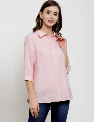Casual plain pink shirt with quarter sleeve