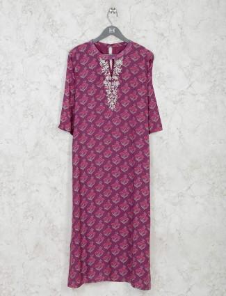 Casual purple printed cotton kurti