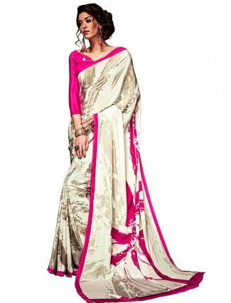 Casual wear cream printed crepe saree