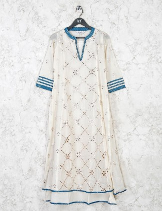 Casual wear off white kurti in cotton