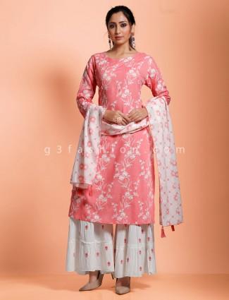 Casual wear pink cotton punjabi sharara set