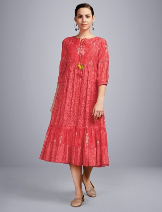 Casual wear red printed kurti in cotton