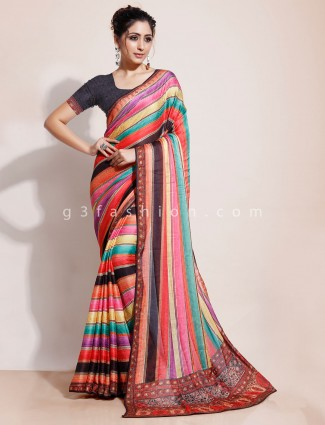 Celebrity style multicolor saree design in georgette