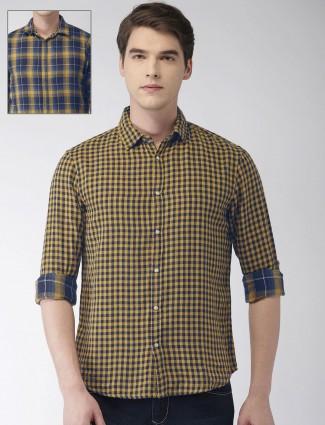 Celio blue and yellow checks reversible shirt