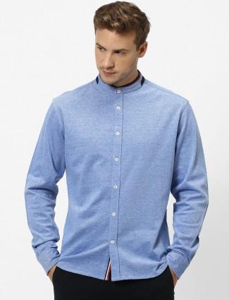 Celio blue solid cotton slim fit shirt
