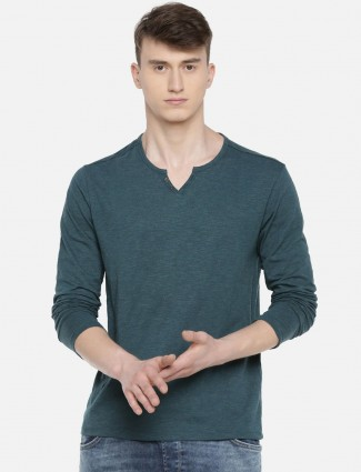 Celio bottle green casual wear solid t-shirt