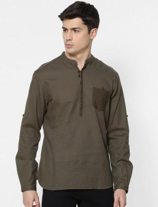 Celio brown cotton solid casual mens shirt