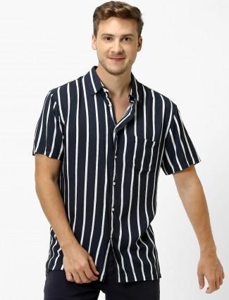 Celio cotton casual black stripe shirt