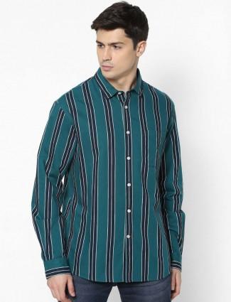 Celio cotton green stripe shirt
