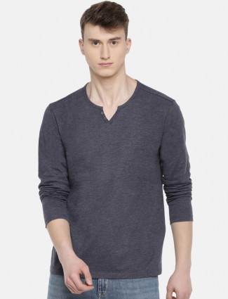 Celio dark grey cotton solid t-shirt