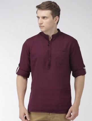 Celio maroon cotton solid mens shirt