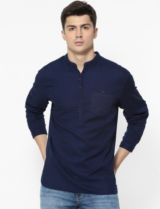 Celio navy patch pocket solid mens shirt