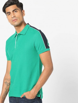 Celio royal green cotton solid t-shirt
