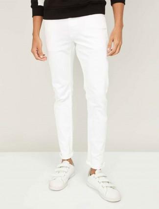 Celio solid white denim jeans