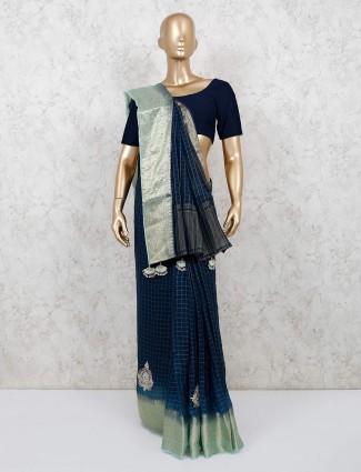 Chanderi cotton saree in blue color