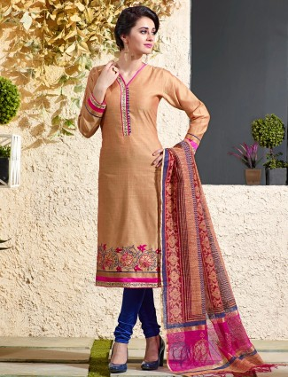 Chanderi silk beige salwar suit