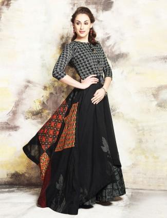 Chanderi silk black one piece suit