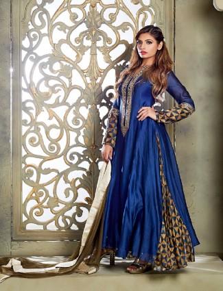 Chanderi silk blue anarkali suit