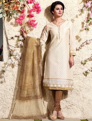 Chanderi silk cream salwar suit