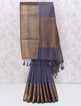 Chanderi silk festive saree in grey hue