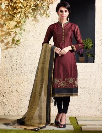 Chanderi silk maroon salwar suit