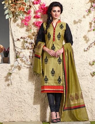 Chanderi silk olive festive salwar suit