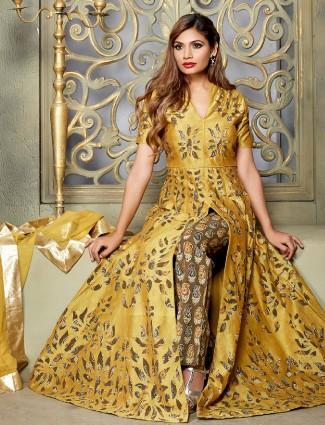 Chanderi silk yellow suit