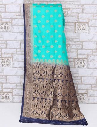 Charming aqua color silk saree
