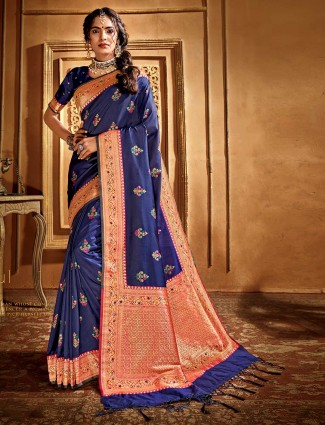 Charming blue banarasi silk saree
