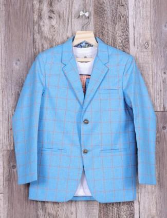 Checks aqua color blazer