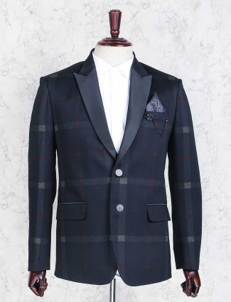 Checks navy mens blazer