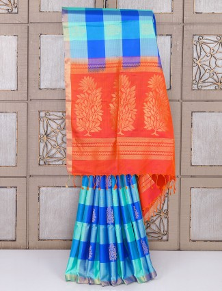 Checks pattern aqua color silk saree