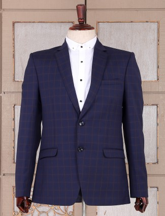 Checks pattern blue color mens blazer