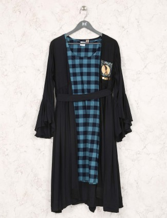 Checks pattern blue hued kurti