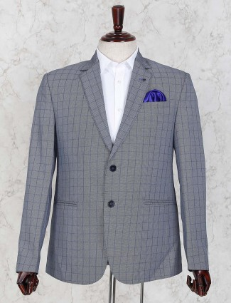 Checks pattern grey hued terry rayon blazer