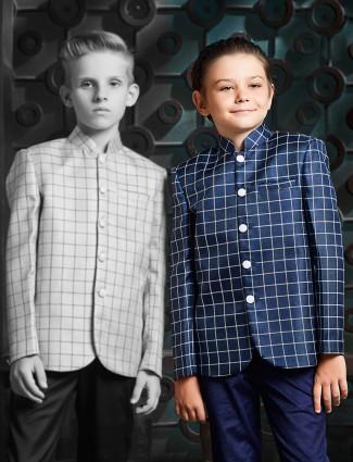 Checks pattern navy color jodhpuri blazer