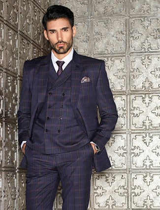 Checks pattern navy dressy terry rayon coat suit