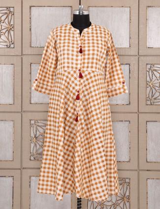 Checks pattern orange color kurti