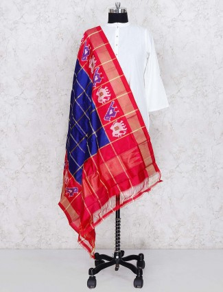 Checks pattern silk dupatta in royal blue