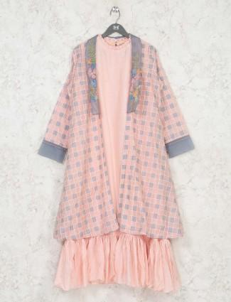 Checks pink cotton round neck kurti