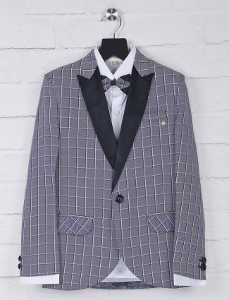 Checks violet color terry rayon tuxedo suit