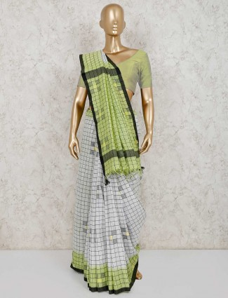 Checks white and green linen saree