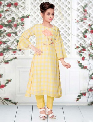 Checks yellow cotton pant suit