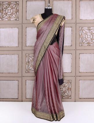 Chiffon fabric purple saree