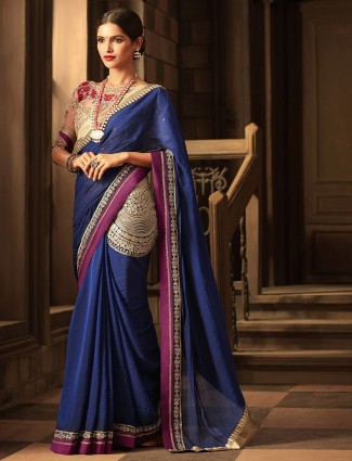 Chiffon fabric saree in navy color