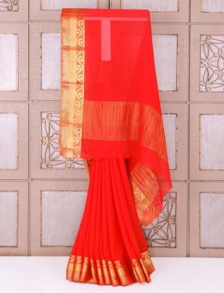 Chiffon red color saree
