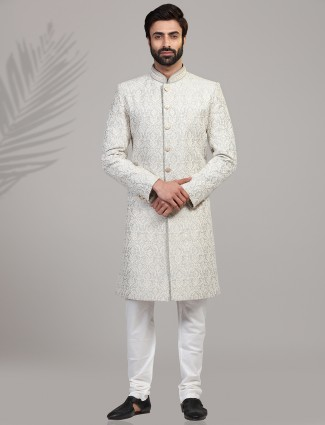 Chikan embroidered grey silk sherwani