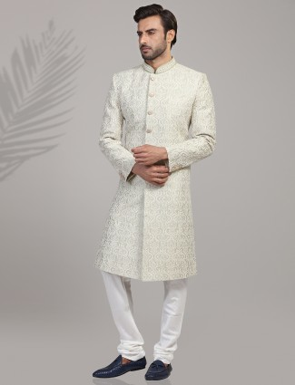 Chikan thread emroidered silk pista green sherwani