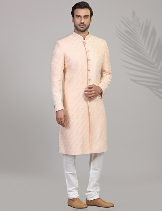 Chikan thread woven peach sherwani in silk