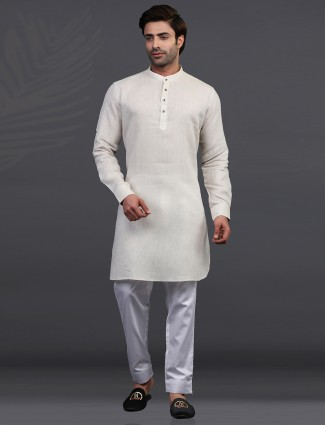 Chinese collar cream linen kurta pajama